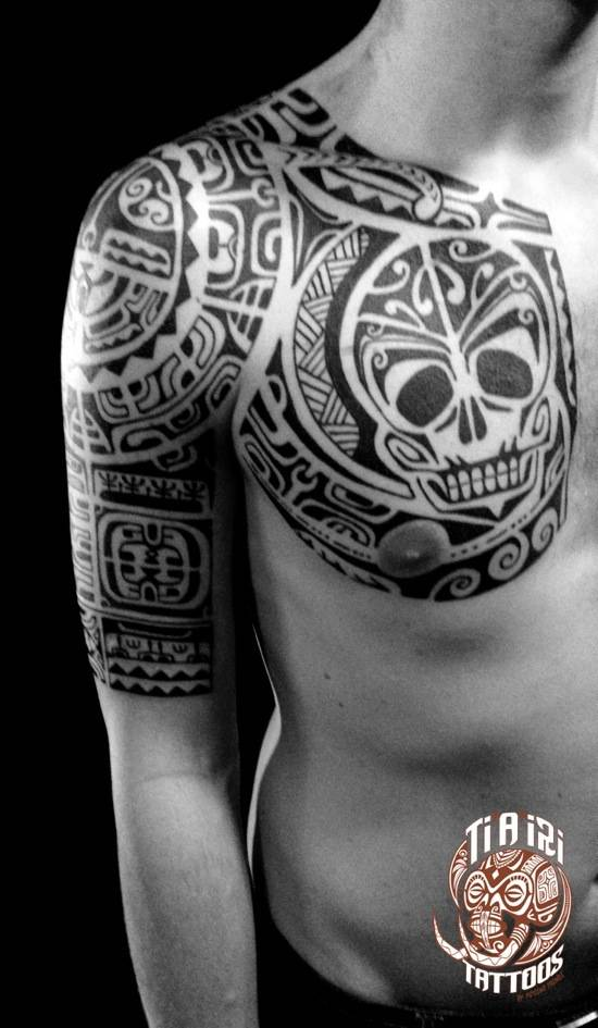 polynesian shoulder amp chest tattoos tiairi polynesian