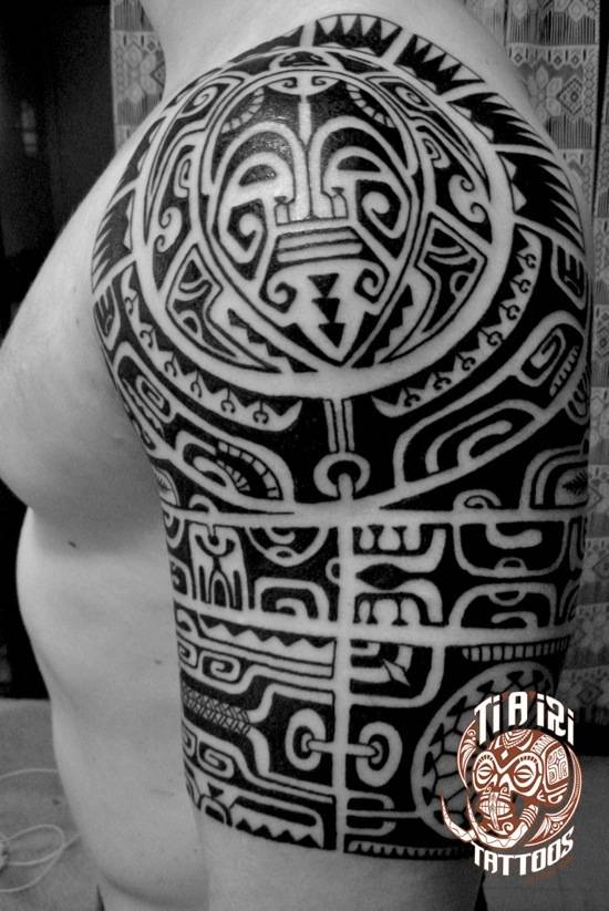 Maori Tribal Tattoo Designs Chest: Polynesian Shoulder & Chest Tattoos