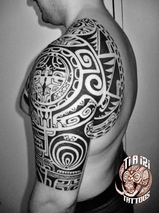 Polynesian shoulder chest tattoos ti 39 a 39 iri polynesian for Polynesian chest tattoo